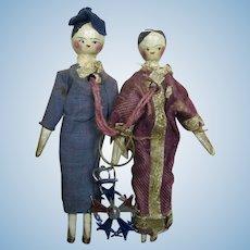 "Pair of Antique 4"" German Grodnertal Peg Wooden Jointed Dolls"
