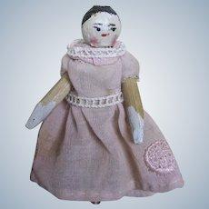 Antique Wood Peg Doll Grodnertal ~ Doll House Size