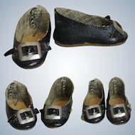 Tiny Antique Black Oilcloth Doll Shoes with Toe Decoration