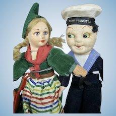 Norah Wellings Felt Dolls ~ Dutch Girl & Sun Princess Sailor