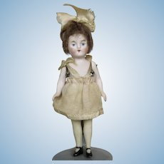 "Antique Miniature 4"" All Bisque Flapper Doll with Black Shoes"
