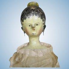 "1830s 14"" Antique Wood Tuck Comb Grodnertal German Doll"