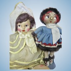 Lot of Two 1920s Vintage Cloth and Felt Dolls