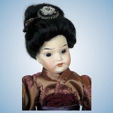 "Antique 12"" Oriental Asian Bisque Head German Doll ~ So Sweet!"