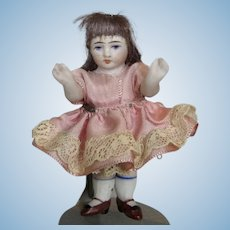 """Antique All Bisque 3"""" German Doll House Doll"""