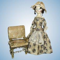 RARE Miniature Antique Barley Twist Chair Circa 1750 - 1790 Perfect for Queen Anne Doll