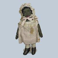 "Incredible Antique 5 1/4"" Black Beecher Type Stockinette Doll All Original"