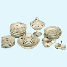 Antique Hand-painted Treen Wood Miniature Dinner Service Set for Doll House