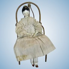 "Early 1820s 11"" Wood Tuck Grodnertal Doll"