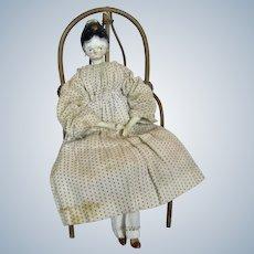 "Early 1820s 11"" Wood Tuck Grodnertal Doll"