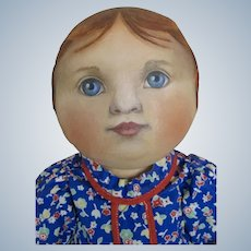 """Rare Early Susan Fosnot 18"""" Oil Painted Cloth Doll OOAK"""