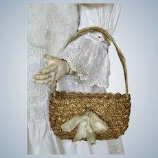 Antique Wicker Straw Doll Basket Purse Bag