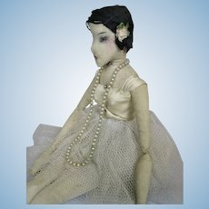Super Antique Cloth Ballerina Doll with Center Seam Face