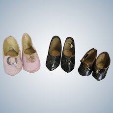 Three Pairs of Antique German Doll Shoes
