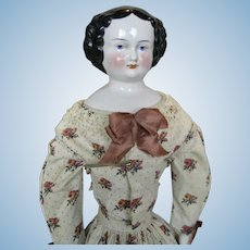 """Antique 20"""" German China Head Doll ~ Great Outfit"""