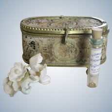 Antique Miniature Tapestry & Gold Metal Jewelry Casket Box for French Fashion Doll