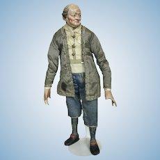 "Early 12"" Neapolitan Creche Man Figure ~ Superb Silk Original Clothing"