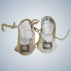 Antique Leather Doll Shoes with Toe Buckle for Small Doll