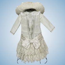 Gorgeous Artisan Made Bebe Doll Dress and Hat for French or German Doll