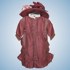 Gorgeous Burgundy Dress and Hat For French Bebe or German Doll