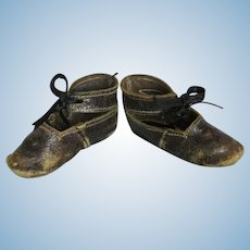 Antique Key Stone Leather Doll Shoes
