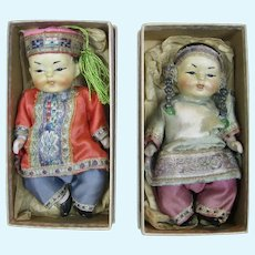 Pair Antique All Bisque Asian Nippon Dolls, Original Boxes & Clothing