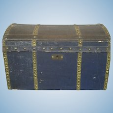 Antique French Bebe Doll Trunk Canvas w Brass Tacks