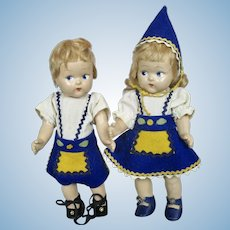 Vintage Pair of Vogue Toddles Dolls Pre Ginny