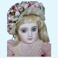 "Gorgeous 14"" Portrait Jumeau Bebe Doll ~ Huge Blue Eyes With Mauve Shadow"