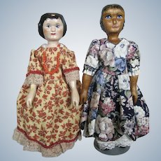 Pair of Hand-carved Wood Hitty Dolls ~ Phyllis Morken