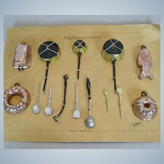 Antique German Miniature Doll House Cooking Utensils on Card