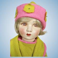 Vintage 1930s Raynal Felt Cloth Doll ~ So adorable!