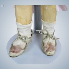Cream Leather Antique Doll Shoes w Pink Toe Decoration