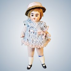 """Sweet Antique All Bisque 4"""" German Doll House Doll with Jointed Arms and Legs"""