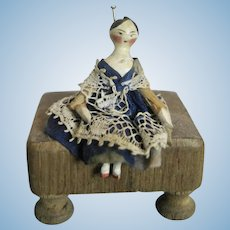 Early 1820-30s Miniature Grodnertal Wood Doll House Doll
