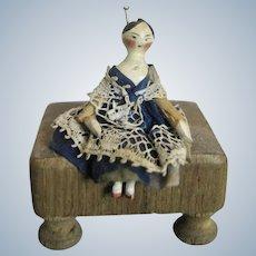 Early 1820-30s Miniature Grodnertal Wood Doll House Doll