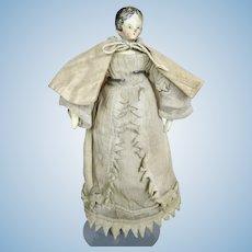 "Early  8"" Grodnertal Wood Peg Doll All Original Clothing"