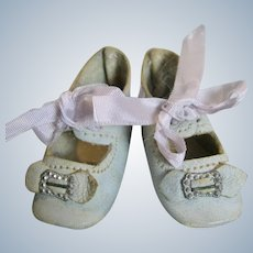 Beautiful Light Blue Antique German Doll Shoes with Toe Buckles