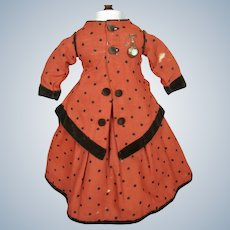 Antique Red Wool French Fashion Doll Dress with Pin