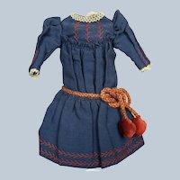 Antique Navy Blue and Red Doll Dress  for French or German Bebe