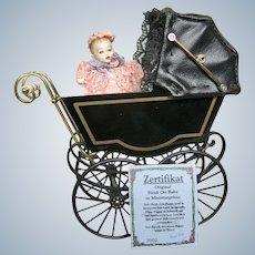 Heidi Ott Miniature Pram Buggy in Black & Gold with Doll House Baby