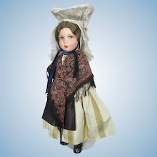 All Original 1939 Clelia French Doll with Elaborate Brittany Coiffe Hat
