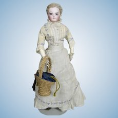 Marvelous Antique French Fashion Doll Basket Candy Container
