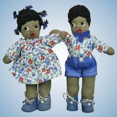 "Vintage 7"" Pair Black Americana Stockinette Cloth Dolls ~ Adorable!"