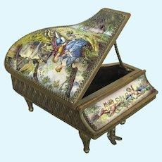 Antique Viennese Enamel Miniature Piano Jewel Casket Doll House