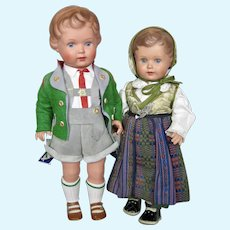Pair 1930s 40s Schildkrot Turtle Mark Celluloid Dolls w Tags Minty