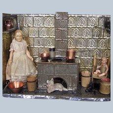 Antique Miniature Tin Doll House Kitchen w Dolls & Accessories