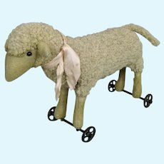 Layaway! Early Pre-Button Antique Steiff Lamb on Wheels