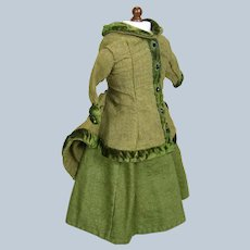 Antique French Fashion Doll Dress Walking Suit