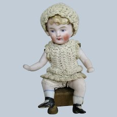 All Bisque Seated Jointed German Doll House Doll